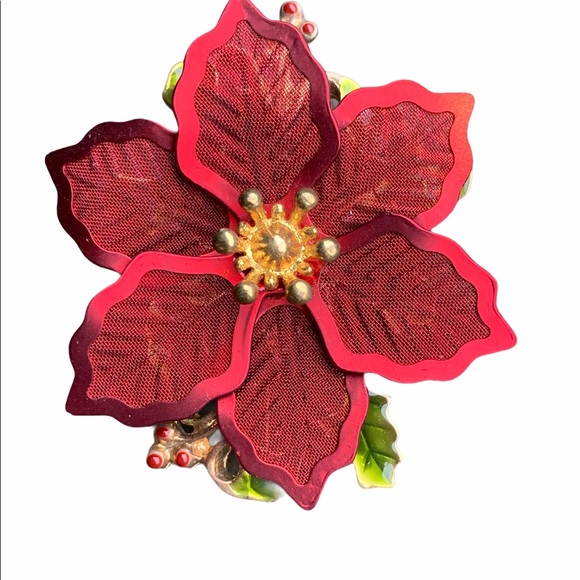 VINTAGE SIGNED KC KENNETH COLE RED POINSETTIA PIN